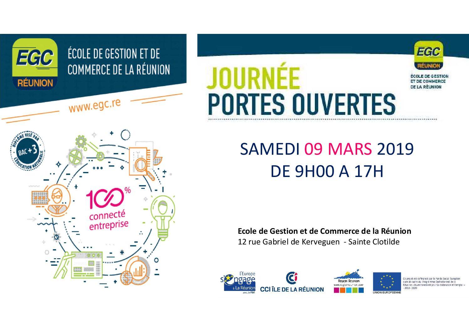 Samedi 09 mars 2019:  Portes Ouvertes à l'EGC Réunion!